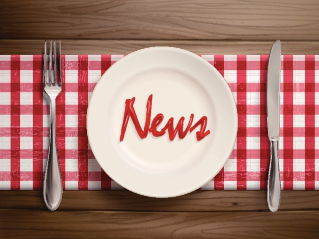 news word written by ketchup on a plate